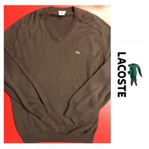 Chocolate Lacoste Men's V-neck Sweater